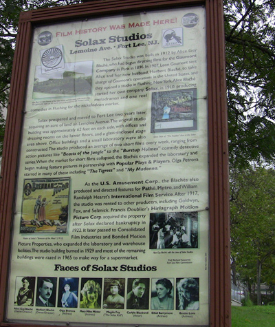 Sign on the Site of the Solax Studio in Fort Lee