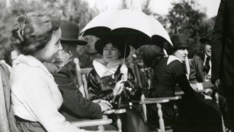 Bessie Love and Alice Guy Blache on set of Her Great Adventure