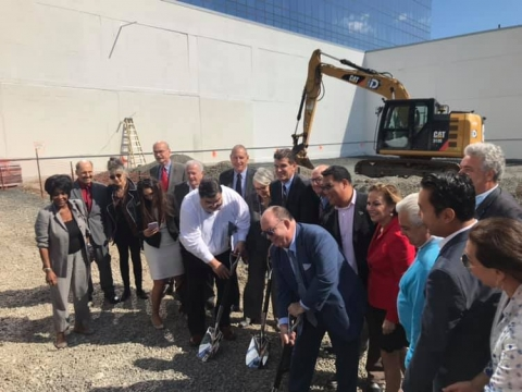 Tom Meyers breaks ground on the new film center